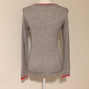 Joie Sweaters - Joie Gray Knit Top w/ Red Lined Detail!!
